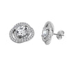 KIERA COUTURE Clear Round Cut Pave Infinity Stud Earrings - GEMOUR
