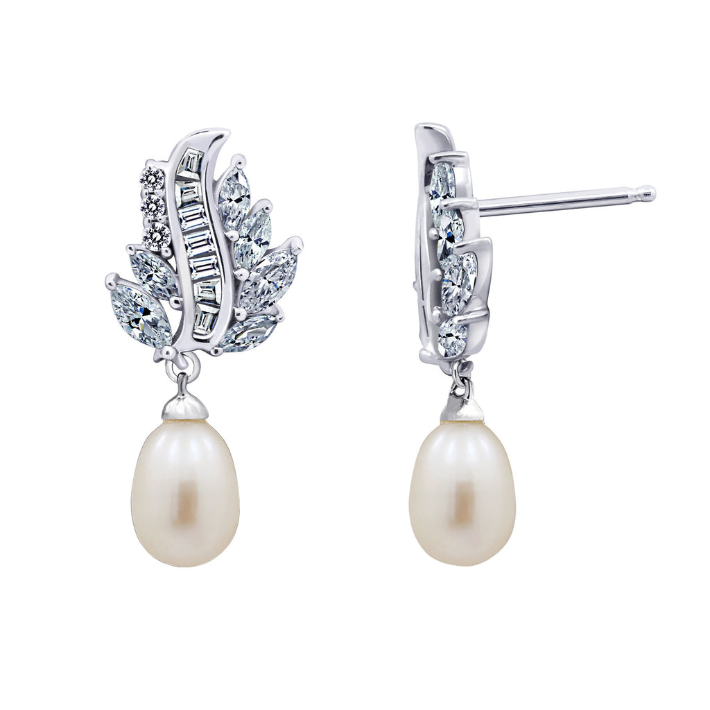 Freshwater Cultured Pearl CZ Marquise Dangle Earrings - GEMOUR