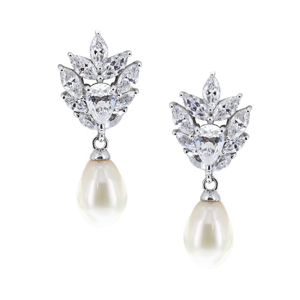 Pear & Marquise Shaped CZ Freshwater Cultured Pearl Dangle Earrings - GEMOUR