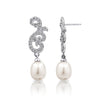 Swarovski Scroll Oval Pearl Drop Earrings - GEMOUR