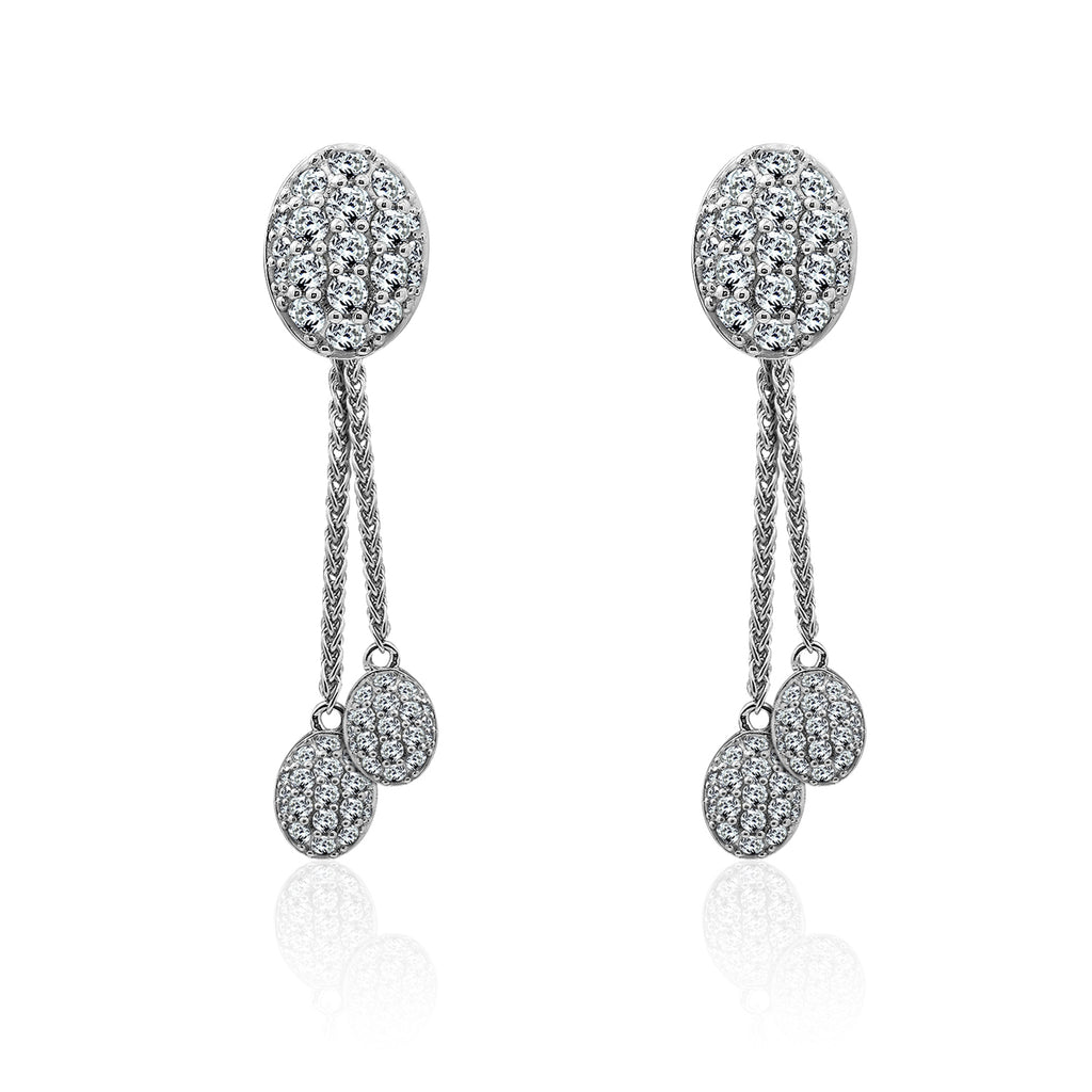 Kiera Couture Pavé Oval Cascade Drop/Jacket Earrings - GEMOUR