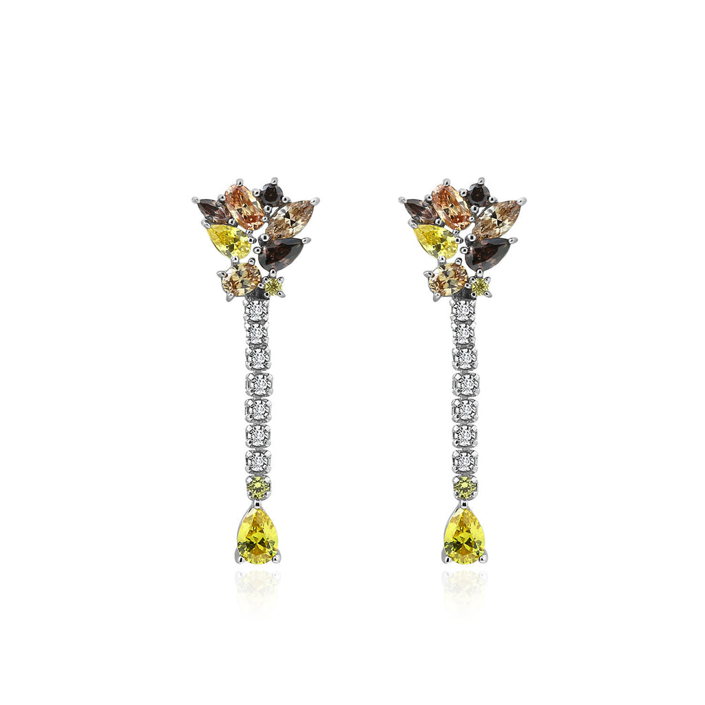 Kiera Couture Pear Cut Fancy Drop Earrings - GEMOUR