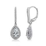 Kiera Couture Sterling Silver Pear Halo Drop Leverback Earrings - GEMOUR