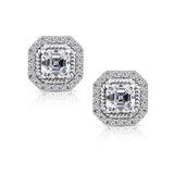 Kiera Couture Halo and Rope Asscher Stud Earrings - GEMOUR