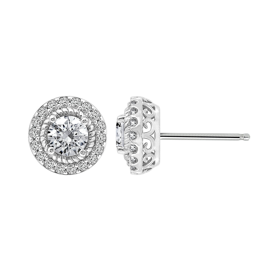 Kiera Couture Rope Halo Round Stud Earrings - GEMOUR
