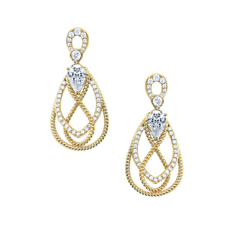 Kiera Couture Rope Halo Round Stud Earrings