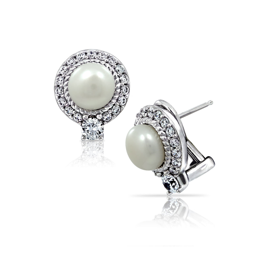 Kiera Couture ROUND HALO PEARL STUD EARRINGS - GEMOUR