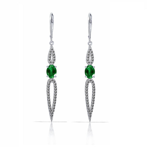 GEMOUR COLLECTION Emerald Cushion Cut Leverback Earrings