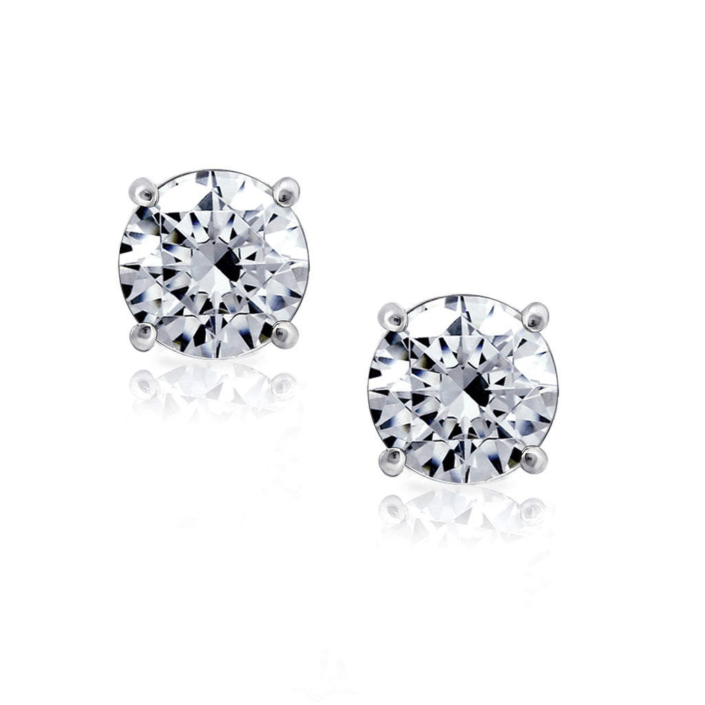 Kiera Couture 8mm clear round cut stud earrings - GEMOUR