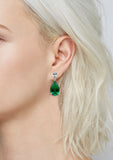 Kiera Couture RED CARPET EMERALD PEAR DROP EARRING - GEMOUR