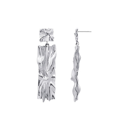 GLOW SOCIETY Link Collection - Open Link Silver Ball Stud Long Earrings