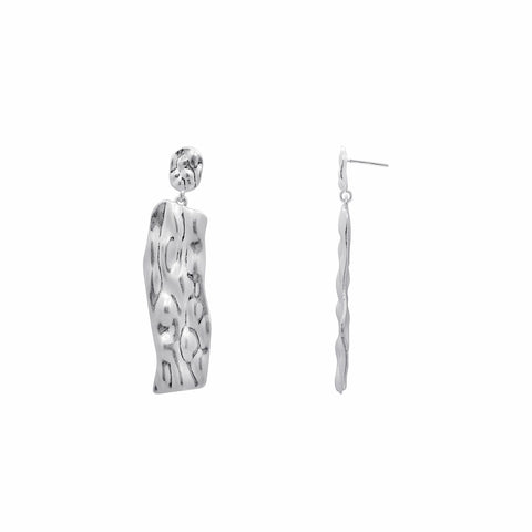 KIERA COUTURE Princess Baguette Sterling Silver Hoop Stud Earrings