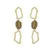 GLOW SOCIETY Curvilinear Forms Collection - Three Organic Shape & Hammered Plate Link Drop Earrings - GEMOUR