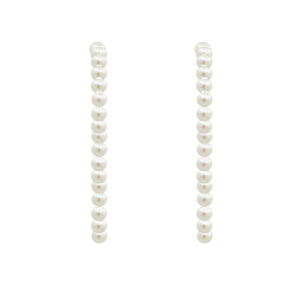 GLOW SOCIETY Pearl Collection - Pearl Long Arc Earrings - GEMOUR