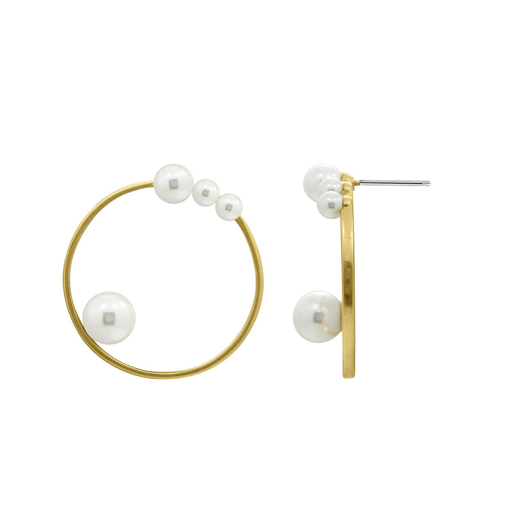 GLOW SOCIETY Pearl Collection - Pearl Open Circle Earrings - GEMOUR