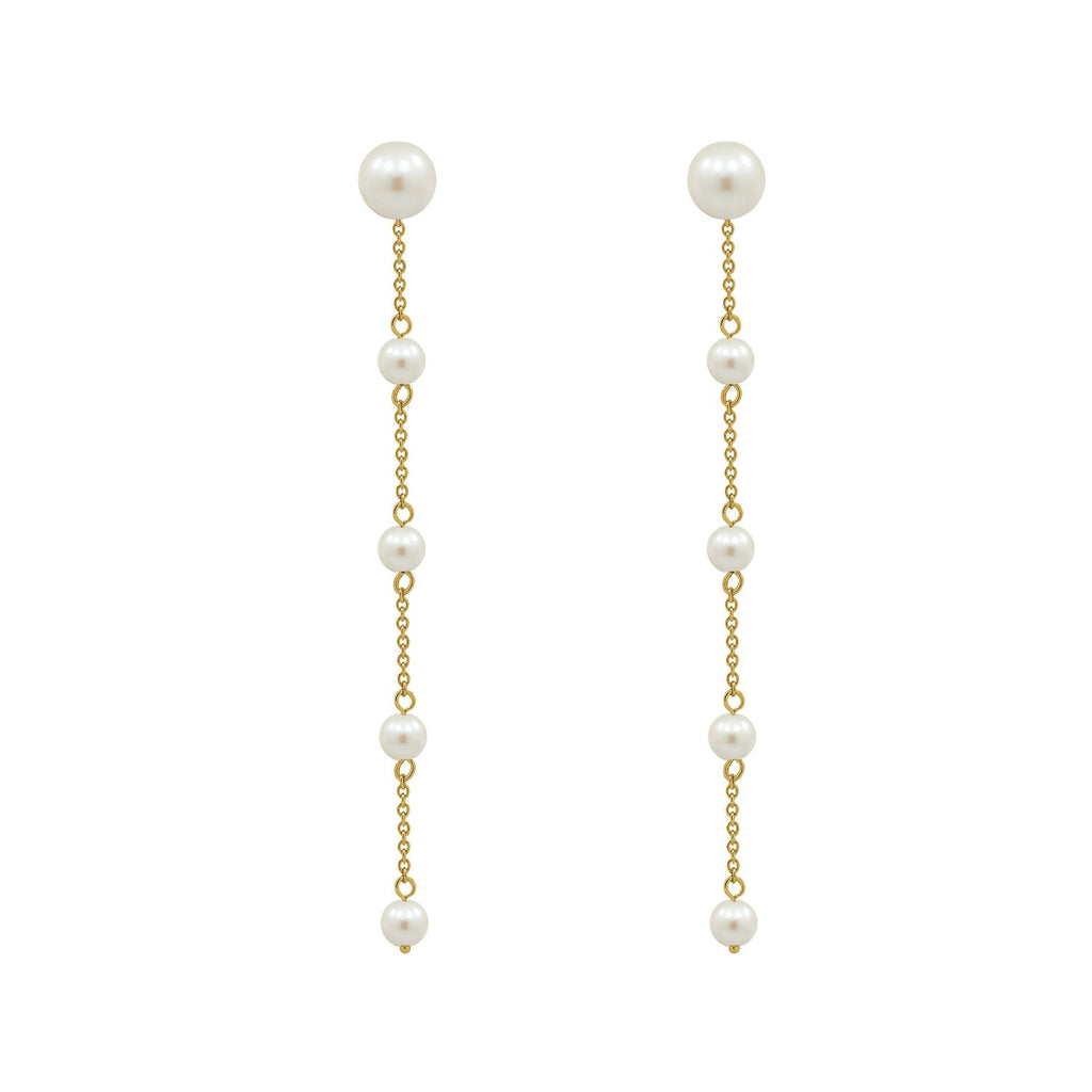 GLOW SOCIETY Pearl Collection - Cascading Pearl Drop Earrings - GEMOUR