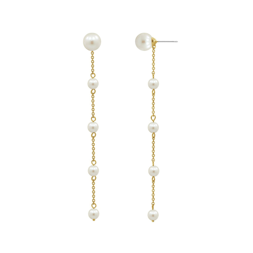 6TH AVE Pearl Collection - Cascading Pearl Drop Earrings - GEMOUR