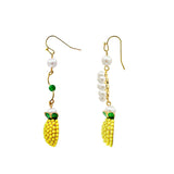 GLOW SOCIETY Fruit Collection - Beaded Pineapple with Pearl Drop Earrings - GEMOUR