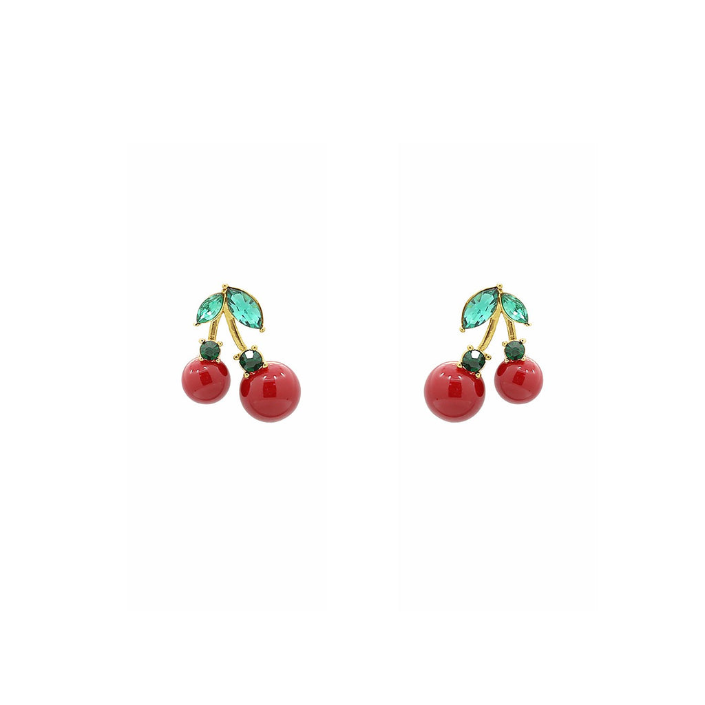 6TH AVE Fruit Collection - Riped Red Cherry With Green Crystal Leaves Earrings - GEMOUR