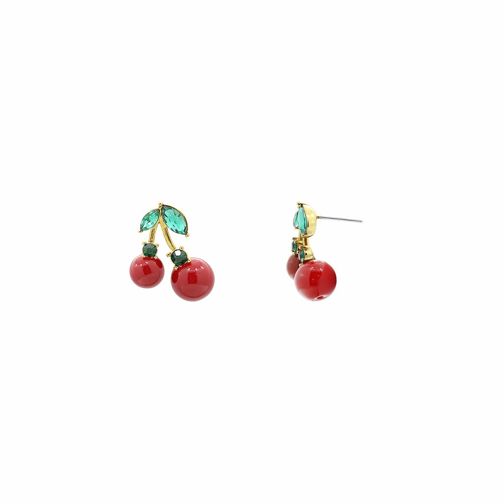 GLOW SOCIETY Fruit Collection - Riped Red Cherry With Green Crystal Leaves Earrings - GEMOUR