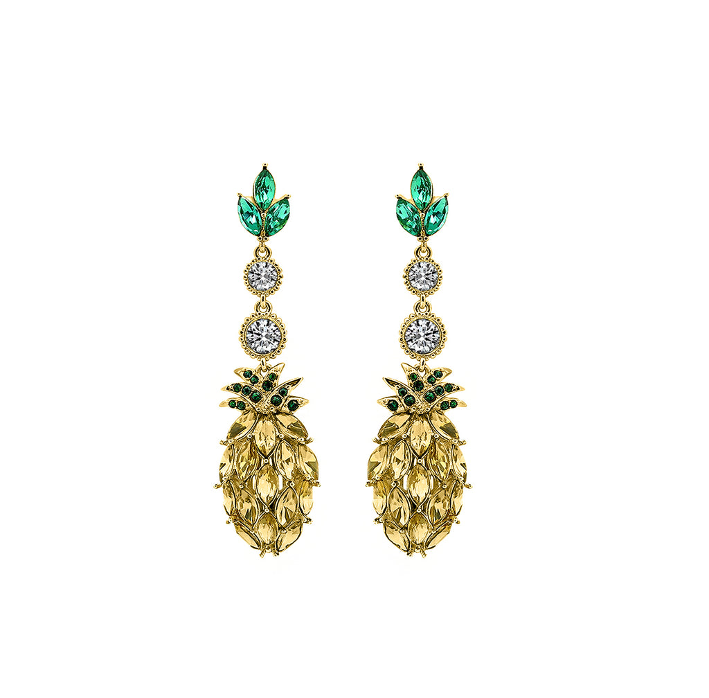 GLOW SOCIETY Fruit Collection - Crystal Pineapple Dangle Earrings - GEMOUR