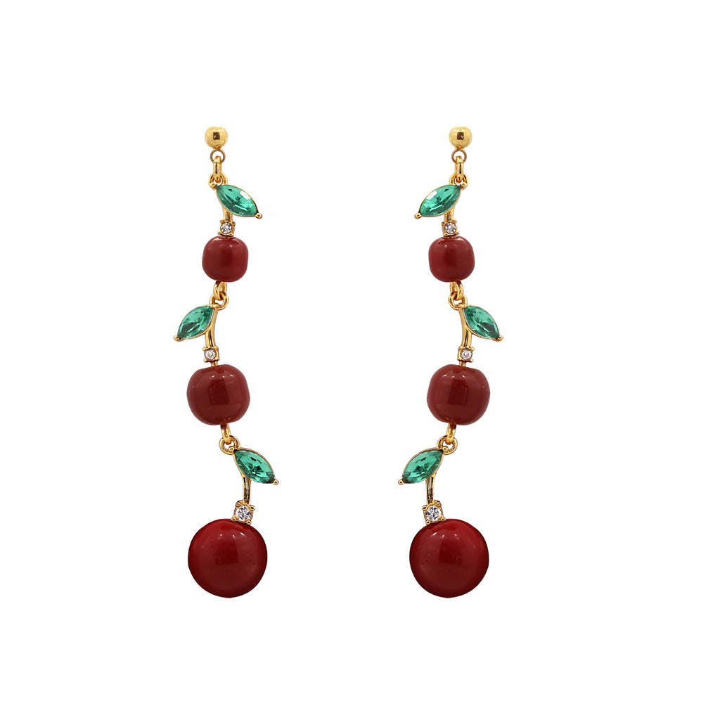 GLOW SOCIETY Fruit Collection - Red Cherry Drop Earrings - GEMOUR