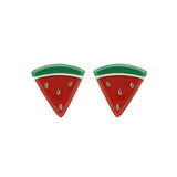 GLOW SOCIETY Fruit Collection - Watermelon Slice Stud Earrings - GEMOUR