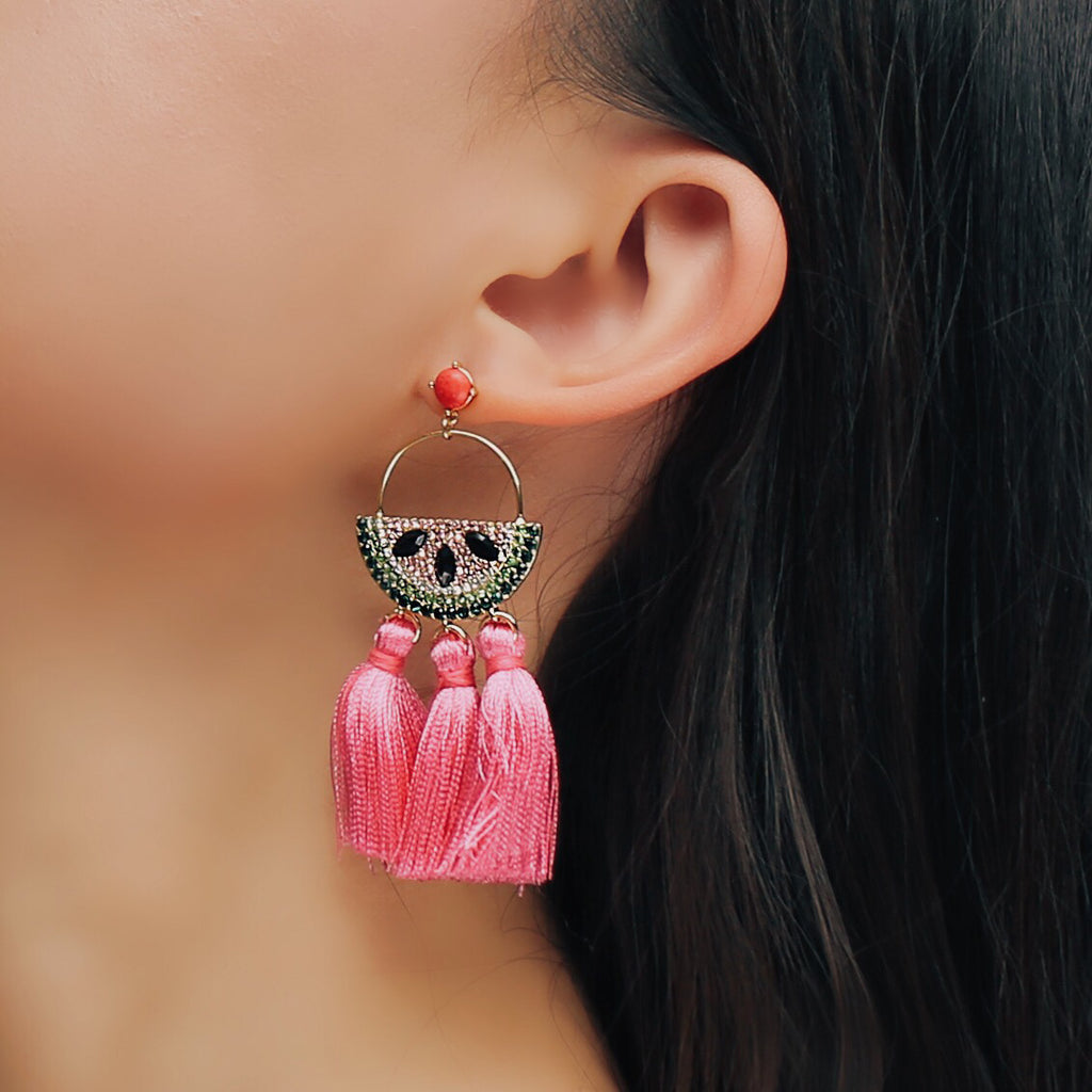 GLOW SOCIETY Fruit Collection - Watermelon Tassle Drop Earrings - GEMOUR