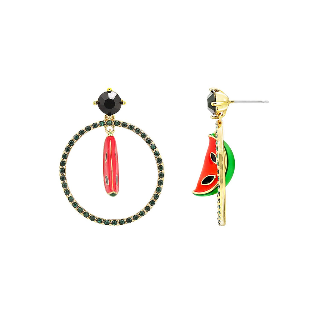 GLOW SOCIETY Fruit Collection - Black Halo Watermelon Dangle Earrings - GEMOUR