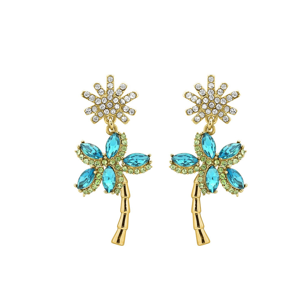 GLOW SOCIETY Fruit Collection - Crystal Palm Tree Dangle Earrings - GEMOUR