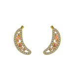 6TH AVE Fruit Collection - Banana With Yellow & Peach Crystal Stud Earrings - GEMOUR