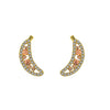 GLOW SOCIETY Fruit Collection - Banana With Yellow & Peach Crystal Stud Earrings - GEMOUR