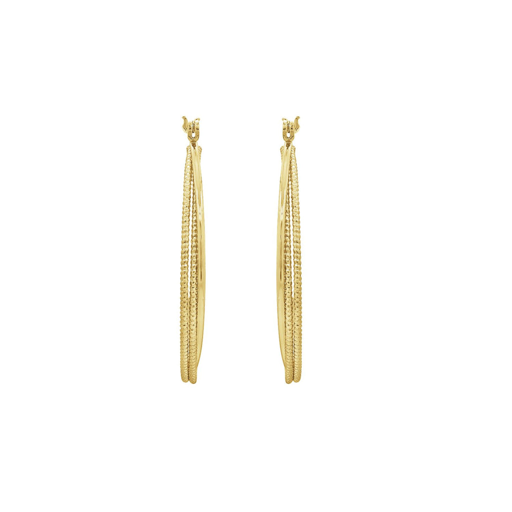 GLOW SOCIETY ATELIER DISKS COLLECTION - Yellow Gold Plated Glitter Mesh Hoop Earrings - GEMOUR