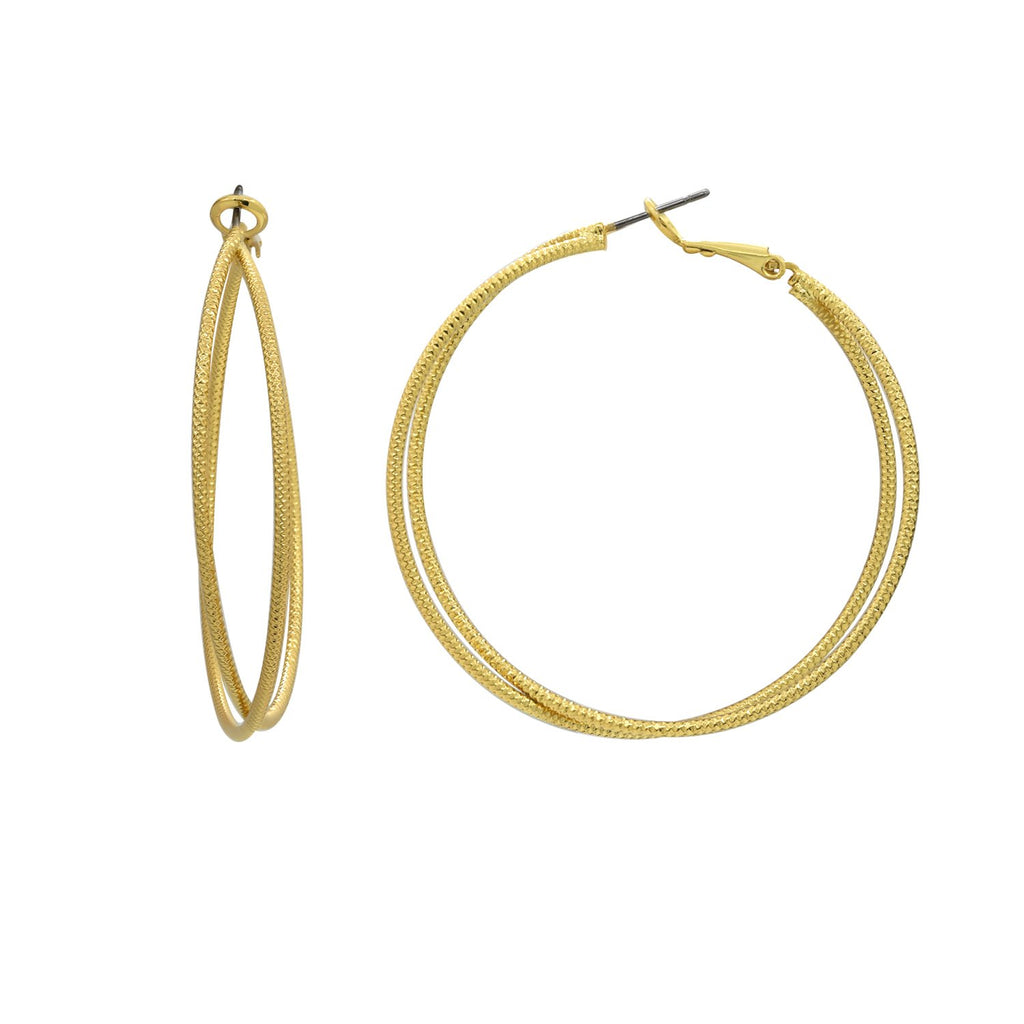 GLOW SOCIETY ATELIER DISKS COLLECTION - Yellow Gold Plated Crossover Rope Textured Hoop Earrings - GEMOUR
