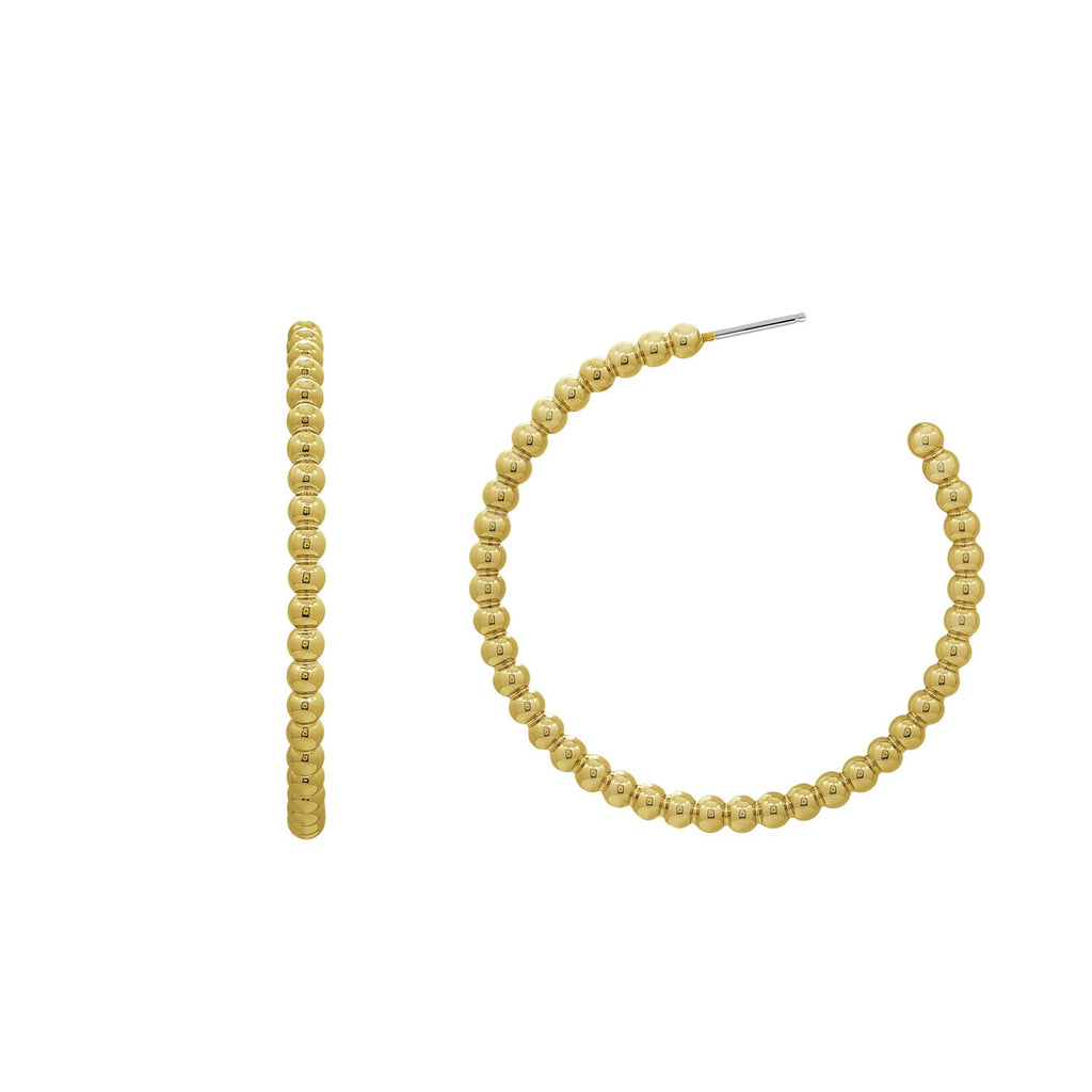 GLOW SOCIETY ATELIER DISKS COLLECTION - Yellow Gold Plated Beaded Bubble Hoop Earrings - GEMOUR