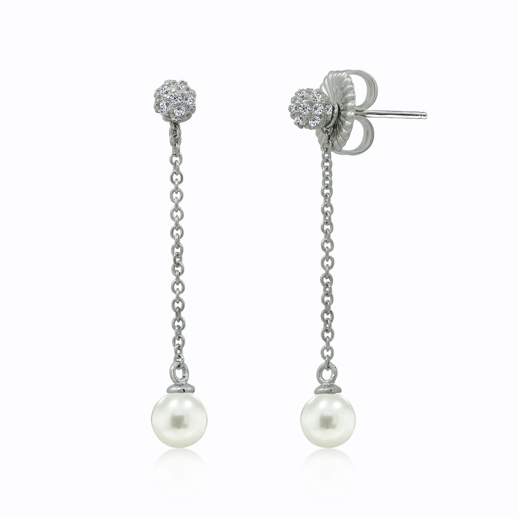Kiera New York CHAIN DROP CZ PEARL EARRINGS - GEMOUR
