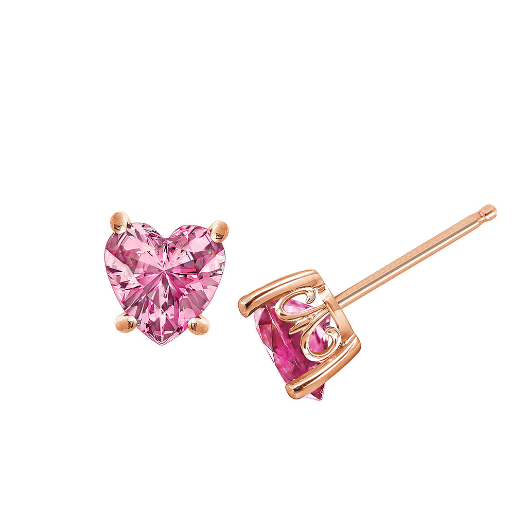 J'ADMIRE Heart Pink Topaz Solitaire Stud Earrings - GEMOUR