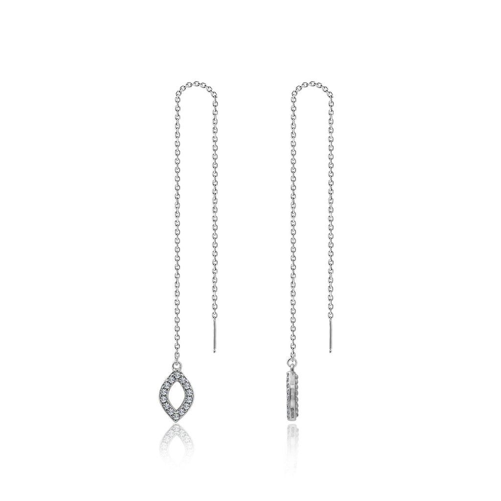 Couture Pave Open Marquise Cut Pendant Necklace & Thread Earrings - GEMOUR