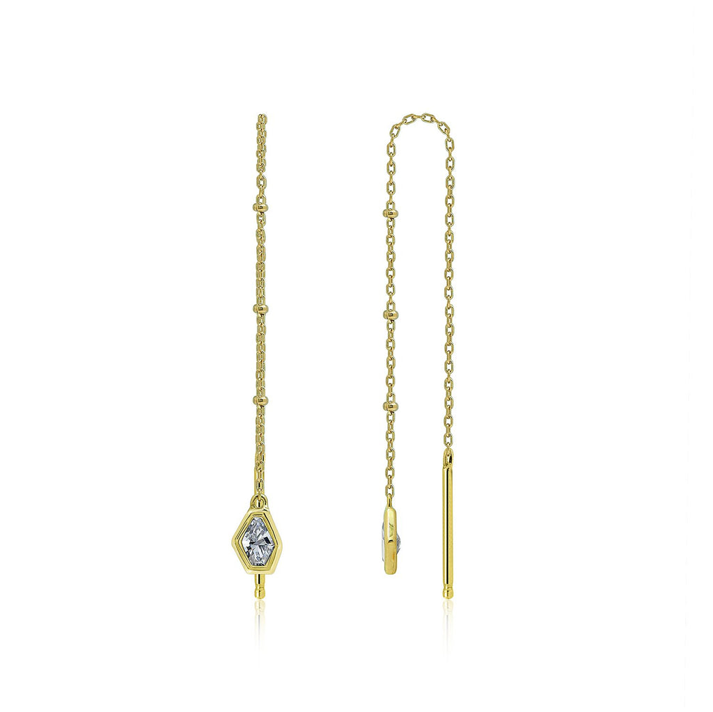 New York Geometric Pendent Threader Earrings - GEMOUR