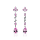 Couture Pink Pear Valentine's Drop Earrings - GEMOUR