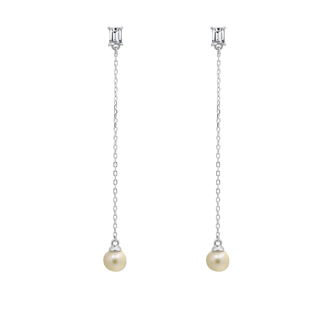 KIERA NEW YORK Freshwater Pearl Sterling Silver Thread Earrings - GEMOUR