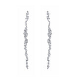 KIERA COUTURE Princess Baguette Sterling Silver Thread Earrings - GEMOUR