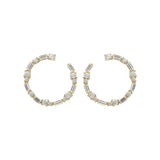 KIERA COUTURE Thin Princess Baguette Cz Sterling Silver Hoop Earrings - GEMOUR