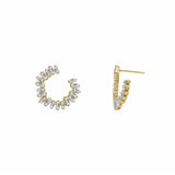 KIERA COUTURE Princess Baguette Sterling Silver Hoop Stud Earrings - GEMOUR