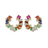 KIERA COUTURE Multicolored Baguette Sterling Silver Hoop Stud Earrings - GEMOUR