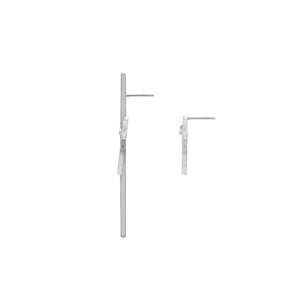 KIERA NEW YORK Platinum Clad Sterling Silver Asymmetrical Bar and Circle Earrings with Cubic Zirconia accents - GEMOUR