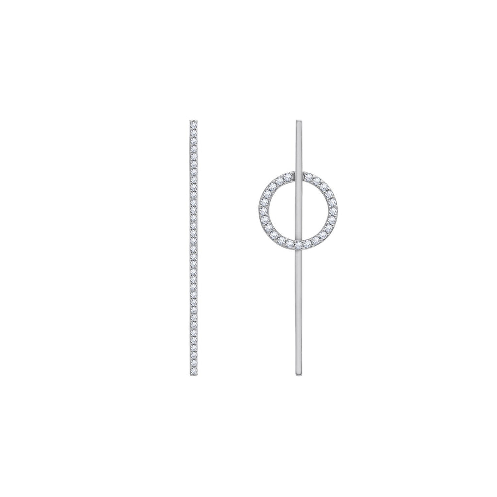 KIERA NEW YORK Platinum Clad Sterling Silver Asymmetrical Bar and Circle Earrings with Cubic Zirconia - GEMOUR