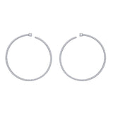 KIERA NEW YORK Platinum Clad Sterling Silver 2.15 cttw Cubic Zirconia Front Facing Hoop Earrings - GEMOUR