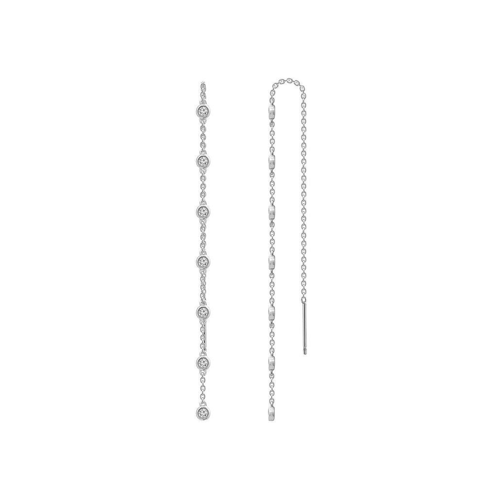 KIERA NEW YORK Platinum Clad Sterling Silver Cubic Zirconia Station Linear Drop Earrings - GEMOUR