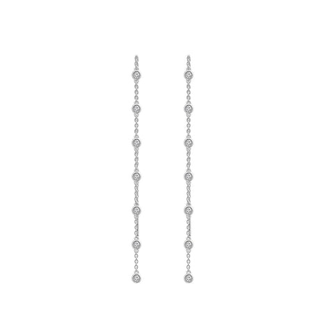 KIERA NEW YORK Platinum Clad Sterling Silver 2.15 cttw Cubic Zirconia Front Facing Hoop Earrings